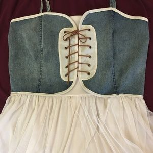 Jeans Top Dress with Leather Ties